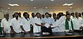 A delegation of farmers from Chikbalapura District of Karnataka meeting the Union Minister for Law & Justice, Dr. M. Veerappa Moily, in New Delhi on August 26, 2010.jpg