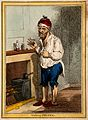 A man standing by a fireplace, pulling a peculiar face after Wellcome V0011206EL.jpg