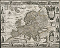 A new, plaine & exact map of Europe, described by N.I. Visscher and done into English, enlarged & corrected according to I. Blaeu, with the habits of the people, and manner of the cheife cities, 1658, the like never before (4231923734).jpg