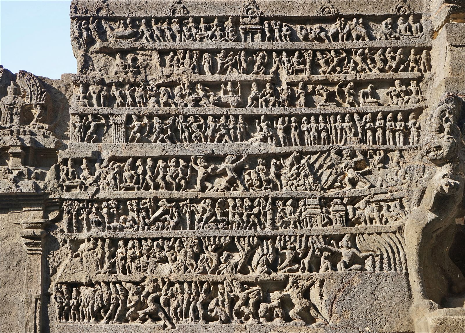 Ramayana Panel in Ellora, 600-1000 Century. Photo Credit: Sarah Welch/Wikimedia Commons [Licensed under CC-BY-2.0]