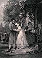 A young woman rushes to embrace her lover, knocking over her Wellcome V0038721.jpg