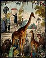 A zoo with giraffes, tigers, and a peacock. Coloured lithogr Wellcome V0023154.jpg
