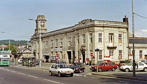 Aberystwyth railway station - The imposing GWR exterior seen in 1992