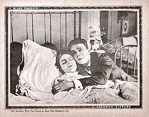 A Blind Bargain - A lobby card, for the film, depicting Raymond McKee, as the main character, with his mother.