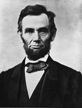 Abraham Lincoln, first Republican president (1861-1865) Abraham Lincoln head on shoulders photo portrait.jpg