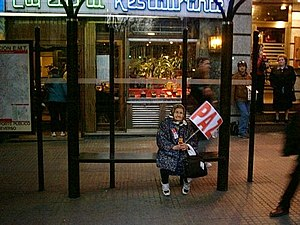 "Protests against the Iraq War - An elderly woman rests in Madrid in a demonstration on March 23. The poster says ""PEACE"" in Spanish."