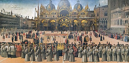 Procession in St Mark's Square by Gentile Bellini in 1496 Accademia - Procession in piazza San Marco by Gentile Bellini.jpg