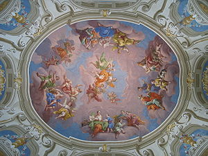 History of Latin - One of the seven ceiling frescoes painted by Bartolomeo Altomonte in his 80th year for the library of Admont Abbey. An allegory of the Enlightenment, it shows Aurora, goddess of dawn, with the geniuses of language in her train awakening Morpheus, god of dreaming, a symbol of man. The geniuses are Grammar, Didactic, Greek, Hebrew and Latin.