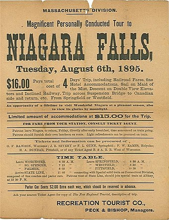 Advertising broadside for trip to Niagara Falls from Massachusett -1895. AdvertisementTripNiagaraFalls6August1895.jpg