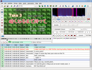 Aegisub demonstrating visual typesetting and karaoke features