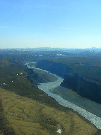 Aerial View of Jökulsá á Fjöllum