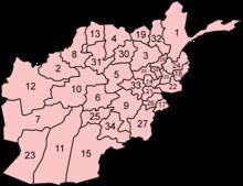 Peta pembagian administratif Afganistan