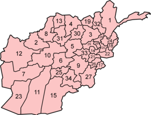 Map showing the 34 provinces of Afghanistan.