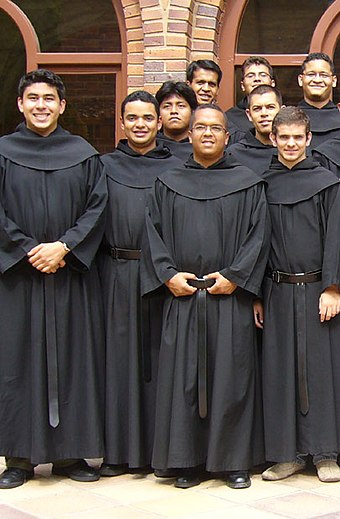 A group of friars; novices of the Order of Augustinian Recollects at the Monastery of Monteagudo in 2006 Agustinos Recoletos.jpg
