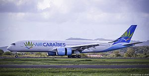 Air Caraïbes - Air Caraïbes Airbus A350-941 at Martinique Aimé Césaire International Airport in new livery (March 2017)