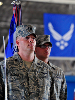 Air Force airmen in Airman Battle Uniform