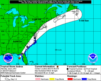 Tropical Storm Andrea (2013) - Tropical storm warnings in effect at 1500 UTC on June 6