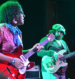 Brittany Howard and Zac Cockrell of Alabama Shakes during a West Hollywood, California concert in January 2012