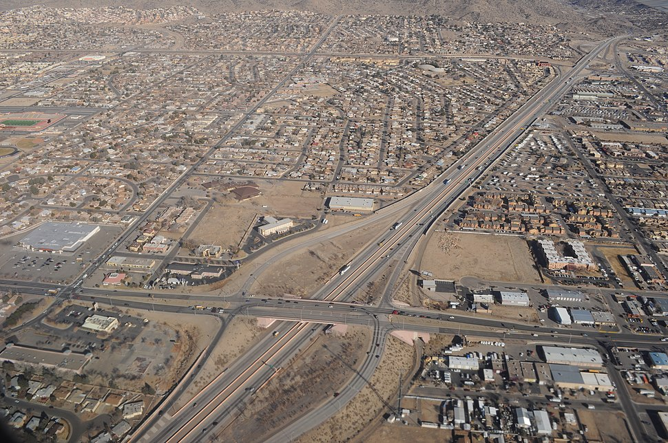 Albuquerque - aerial - I-40 east from Juan Tabo Blvd NE