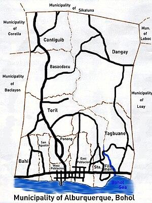 Alburquerque, Bohol - Image: Alburquerque map