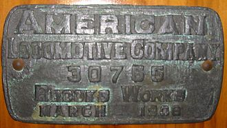 Brooks Locomotive Works - Builder's plate from ALCO-Brooks locomotive, 1906