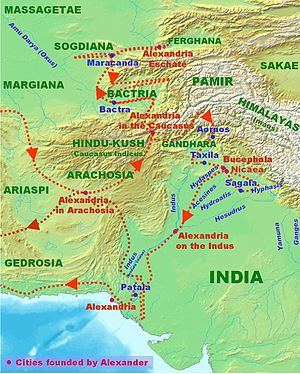 Indian campaign of Alexander the Great - Image: Alexander Conquests In India