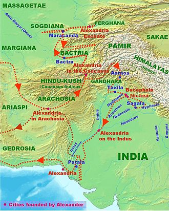 History of Pakistan - Alexander's campaign in the Indus Valley.