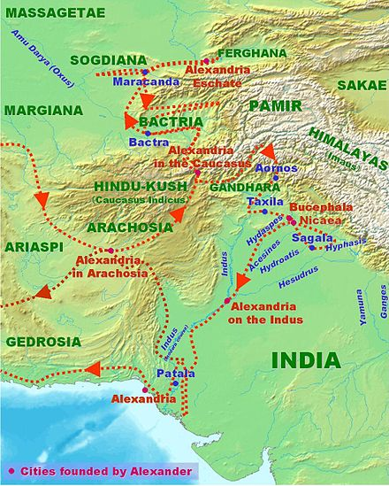 Alexander's invasion of the Indian subcontinent. AlexanderConquestsInIndia.jpg