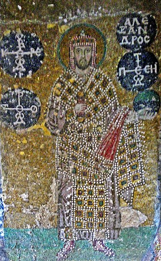 Alexander (Byzantine emperor) - Byzantine Mosaic portrait of Emperor Alexander in the Hagia Sophia. In his left hand he holds a globus cruciger, and in his right the akakia.