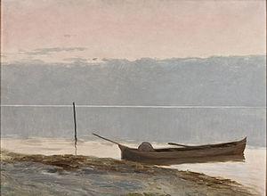 Alfredo Andersen - Paisagem com Canoa na Margem