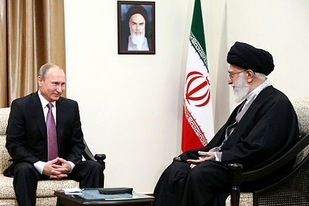 Khamenei in meeting with Russian President Vladimir Putin, 23 November 2015 Ali Khamenei and Vladimir Putin.jpg