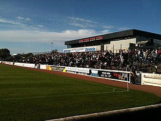 History of football in Scotland - Somerset Park in Ayr is an old stadium with a majority of terracing and less than 2000 seats but would now meet SPFL Premiership entry requirements