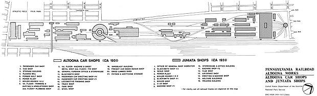 Plan des travaux d'Altoona, vers 1931