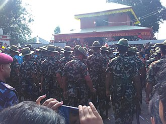 Ghorahi - Nepal Army devoting Fulpati in Ambikeshori Temple Area during Dashain