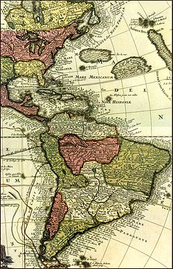 Kaart van Zuid-Amerika, het Caribisch gebied en het oostelijke deel van Noord-Amerika.  Er zijn verschillende administratieve regio's aangegeven, onder andere in het noorden van Zuid-Amerika, het nieuwe koninkrijk Granada, dat grofweg het huidige Venezuela, de Guyana's en delen van Colombia omvat.  Ruwweg het huidige Ecuador, Peru en Bolivia worden aangemerkt als behorend tot de onderkoninkrijk Peru.  Ruwweg het huidige Uruguay, Paraguay en delen van Argentinië en Brazilië zijn gemarkeerd met betrekking tot Paraguay.  Santa Cruz de la Sierra is gemarkeerd in de onderkoninkrijk Peru, dicht bij de grens met Paraguay.