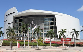 American Airlines Arena - Looking east to the main facade of American Airlines Arena