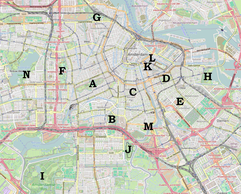 Amsterdam map indicating parks - 01