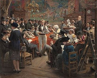 Auction - A late 19th Century auction at the Hotel Drouot, Paris (painting by Albert Bettannier).