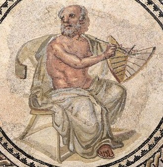 Anaximander - Ancient Roman mosaic from Johannisstraße, Trier, dating to the early third century AD, showing Anaximander holding a sundial
