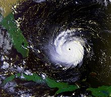 Satellite image of an intense hurricane near the Bahamas
