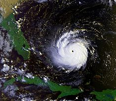 Hurricane Andrew approaching the Bahamas and Florida as a Category 5 hurricane