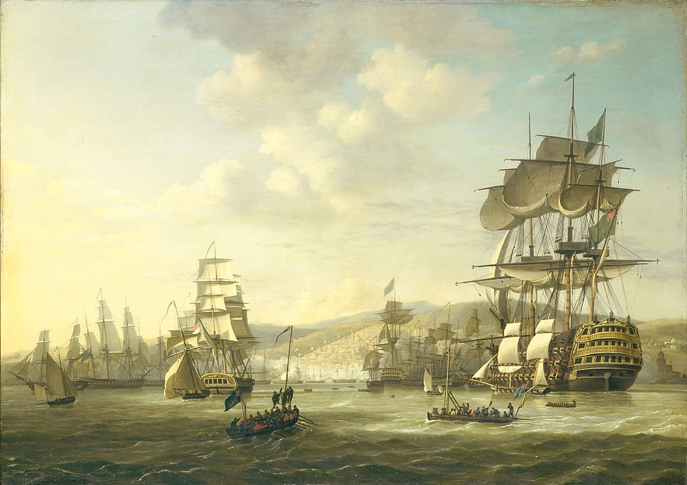 Anglo-Dutch fleet in the bay of Algiers as support for the ultimatum demanding the release of white slaves on august 26 1816 (Nicolaas Baur, 1818)