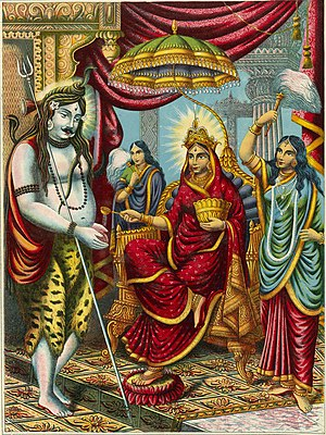 Annapurna Devi Mata - Annapurna Devi (sitting on throne) giving alms to Shiva (left), a scene from Annada Mangal, colour lithograph, 1895.