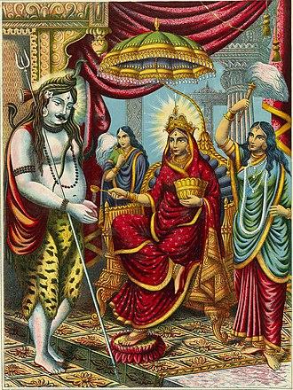 Annapurna Devi Mata - Annapurna Devi (sitting on throne) giving alms to Shiva (left), a scene from Annada Mangal, colour lithograph, 1895.