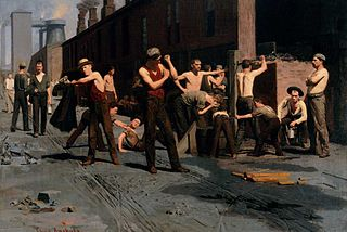 <i>The Ironworkers Noontime</i> painting by Thomas Anshutz