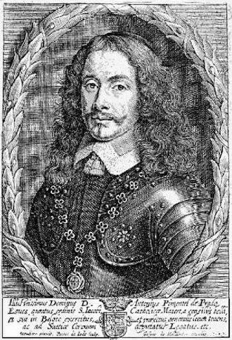 Siege of Saint-Omer - Captain Antonio Pimentel de Prado, engraving by Peter de Jode over a drawing by Caspar Heilandre.