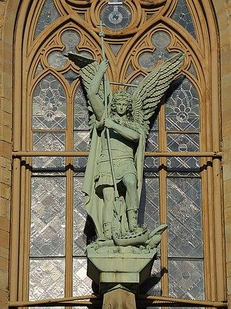 Saint Michael's Church (Rochester, New York) - Image: Archangel Michael Statue Rochester New York