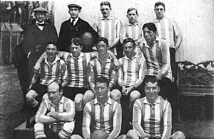 History of the Argentina national football team - An Argentina line-up of 1908, using the light blue and white jersey.