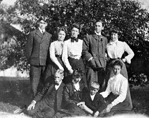 Maitland Armstrong - The Armstrong family c. 1910s. Front, left to right, Maitland Armstrong, Helen Armstrong, Ham Armstrong?, Margaret Armstrong? (Order was wrong in source picture).