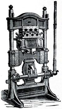 Cross-hatched illustration of a blocking machine.